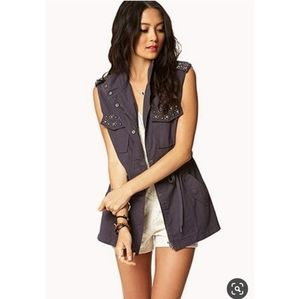 Forever 21 Jeweled Utility Vest with Drawstring